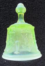 """VINTAGE FENTON TOPAZ OPALESCENT BELL SABLE ARCH DESIGN 5 3/4"""" VASELINE GLASS"""