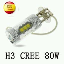 2X BOMBILLAS H3 LED CREE 80W ANTINIEBLA COCHE ALTA POTENCIA, BLANCO