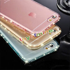 per iPhone 7 6s COVER CUSTODIA morbida TPU Gel Trasparente Case STRASS GIOIELLI