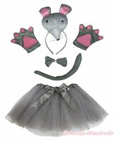 Gray 3D Mouse Rat Headband Bow Tail Paw Gauze Skirt 5pc Kid School Party Costume