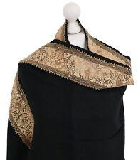 Black Gold Net Border Palla Indian Embroidered Shawl 100% Wool Pashmina Scarf UK