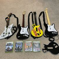 Xbox 360 guitar controller and games huge lot (UNTESTED AS IS)