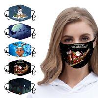2020 Weihnachten Unisex Gesichtsmasken Santa Elk Print Winddichte waschbare Mask
