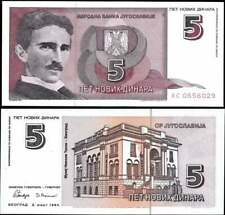 Yugoslavia Nikola Tesla 5 Dinara Banknote Hyperinflation Currency World Bill