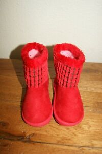 New Ositos Red Checkered Faux Fur Boots Sz 10 Little Girls Toddlers