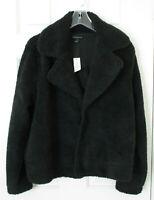 Banana Republic Women Black Faux Fur Teddy Jacket Sz L NWT Retails $99