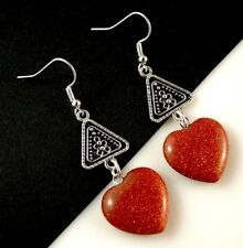 1 Pair of Brown Goldstone Gemstone Heart Dangle Earrings #1814