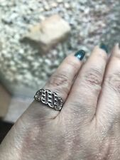 Silver Tone Size 5.5 Studded Retro Vintage Avon Faux Marcasite Wave Swirl Ring