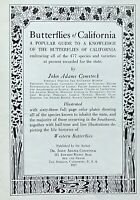 VERY RARE 1927 Comstock BUTTERFLIES of CALIFORNIA 1st/HB/334pp/63 COLOR PLATES