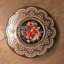 Boite ronde en métal décorative - Colorée - Travaillée - Motif Fleurs - Hollande