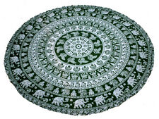 """INDIAN 72"""" ROUND PRINTED COTTON TABLE COVER ANIMAL CLOTH DINING DECOR ART"""
