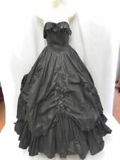 """Vintage Laura Ashley Evening Dress Black Gothic wedding Victorian 22"""" waist 6"""
