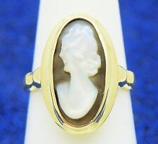 VINTAGE CAMEO SOLITAIRE RING SOLID 10 K GOLD 3.9 g SIZE 6.75