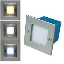LED Wand-Einbauleuchte Edelstahl 230V 1,5W IP54 Treppen-Stufen Einbau-Leuchte