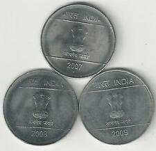 3 DIFFERENT 1 RUPEE COINS from INDIA - 2007, 2008 & 2009 (ALL with MINT MARK N)
