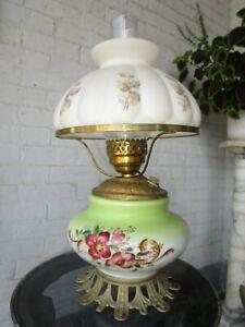 Antique Victorian Art Nouveau Hurricane Lamp Oil converted to electric