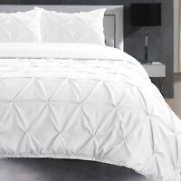 White Pintuck Bedding Bed Room Duvet Cover Set Single Double Super King Sizes