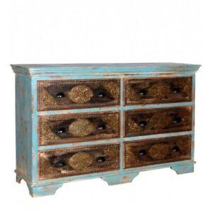 Indian Embossed Antique Brass work Solid wood Rustic Blue Dresser Sideboard