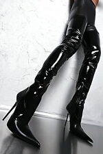 MADE IN ITALY SEXY MEGA HIGH Z26 HEEL LUXUS POINTY STIEFEL BOOT LEDER 37