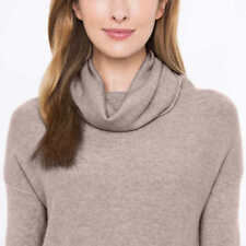 Celeste Womens 100% Cashmere Sweater Tan Mink Cowl Neck Size Large 8 10 New