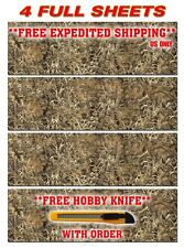 """4 CAMOUFLAGE VINYL DECAL 48"""" x 15"""" TRUCK WRAP TREE PRINT DUCK CAMO GRASS DECAL"""