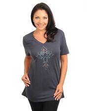 Women Dark Gray Sheer Mesh Cross Cutout Detail  Rhinestone Top Blouse Size M
