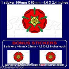 LANCASHIRE Red Rose of Lancaster Flag UK 100mm Vinyl Sticker, Decal x1+2 BONUS