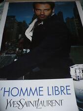 AFFICHE YVES  ST LAURENT L'HOMME LIBRE Benjamin MILLEPIED 180x120 TBE NON PLIEE