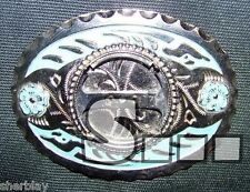 Silvertone and Blue Belt Buckle Finding