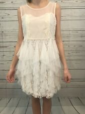 ANTHROPOLOGIE A'Reve Creme Lace Dress Ruffle Bottom NWT Sz SMALL Sleeveless NEW