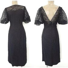 Vintage 50s Lace Bombshell Dress Size Medium Puff Sleeve Cocktail Black Party