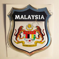Sticker Malaysia Emblem Coat of Arms Shield 3D Resin Domed Gel Vinyl Decal Car