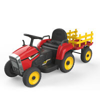 HOVER HEART Electric Tractor 12v Ride-On Toys with Trailer,Music, Remote Control