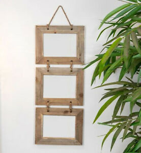 Home Decorations - Three Hanging Wooden Picture Frame - 18 x 13 cm -Natural Wood