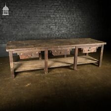 More details for large vintage industrial workshop table workbench with 3 drawers