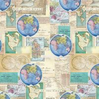 Vintage Cartography Global Map Premium 100% Cotton Fabric by the Yard
