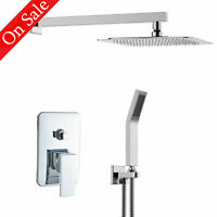 8''Single Handle Shower Faucet Trim Valve Hand Shower Complete Kit Square Chrome
