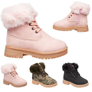 Girls Fashion Ankle Boots with Faux Fur Collar & Lining GREAT WINTER WARM BOOTS