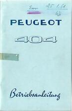 PEUGEOT 404 Betriebsanleitung 1961 Bedienungsanleitung Handbuch Bordbuch BA