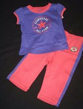 CONVERSE BABY GIRLS PURPLE CHUCK TAYLOR SHIRT SWEAT PANTS SET OUTFIT 12 MONTHS