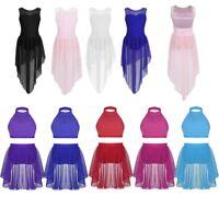 Girls Lyrical High-Low Dress Ballet Modern Contemporary Dance Leotard Costume