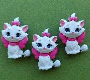 3 x MARIE Disney Craft Buttons Aristocats Turkish Angora Cat Kitten Dress It Up