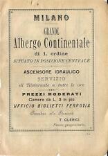 Stampa antica pubblicità ALBERGO CONTINENTALE Milano 1899 Old antique print