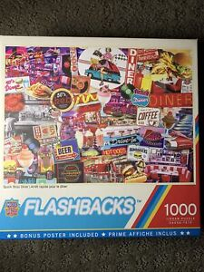 Flashbacks Quick Stop Diner America 1000 pc Jigsaw Puzzle MasterPieces pre-owned