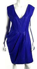 LELA ROSE Electric Blue Woven Silk Pleated Skirt V-Neck Sheath Dress 10