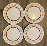 4 Vtg Homer Laughlin Dessert Plate Pink Yellow & White Restaurant Ware
