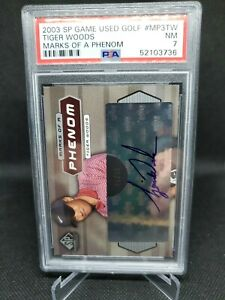2003 SP Game Used Tiger Woods Marks Of A Phenom Auto #08/32 PSA 7