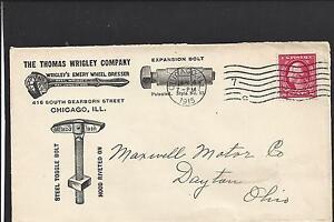 CHICAGO, ILLINOIS COVER,1915,ILLUST ADVT. T.WRIGLEY CO.  WRIGLEY'S WHEEL DRESSER