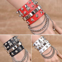 Unisex Leather Wrap Cuff Wristband Punk Silver Spike Rivet Cone Bracelet Bangle