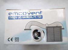"""EMCOVENT SHOWER FAN KIT WITH LIGHT 100MM (4"""") WHITE INC. TRANSFORMER FOR LIGHT!!"""